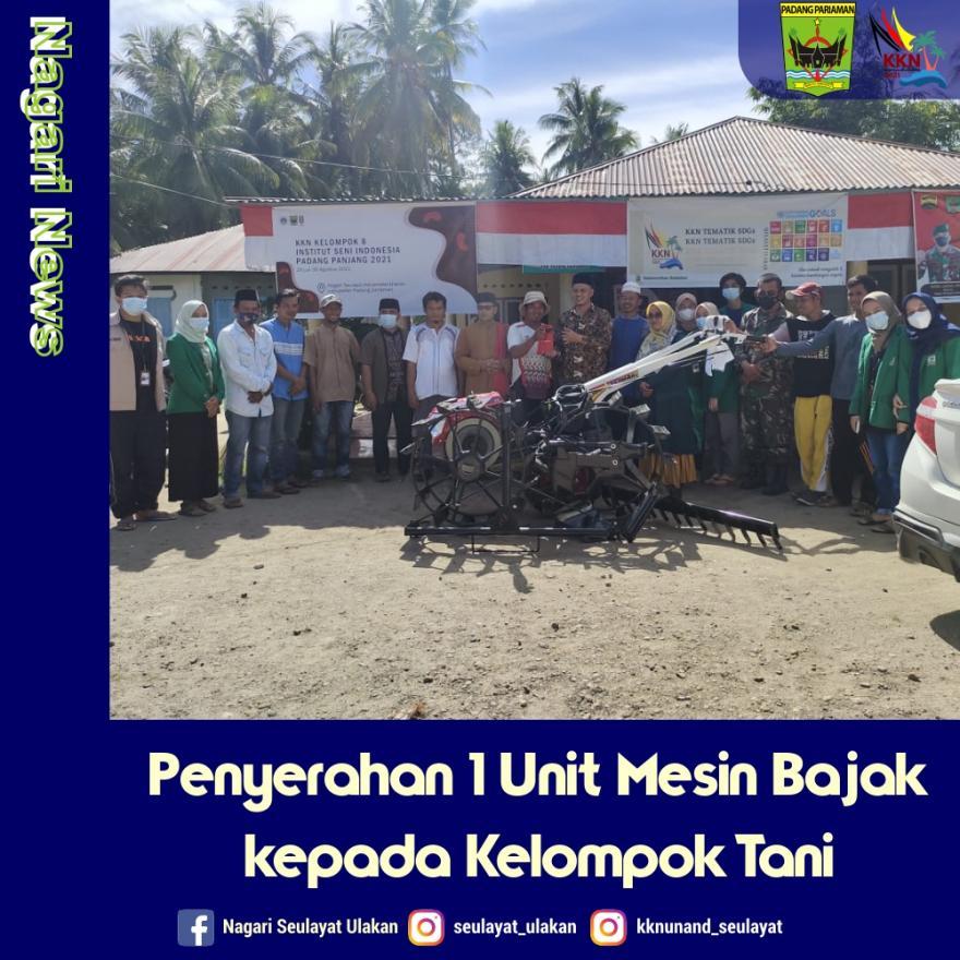Penyerahan 1 Unit Mesin Bajak kepada Kelompok Tani Muda Berkarya